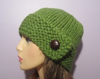 Knit Hat - Green Knit Hat with Genuine Leather Button - Winter Hat
