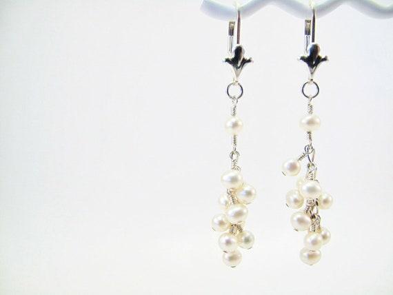 White Wine Cluster Earrings