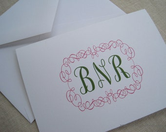 Monogram Note Cards - Set of 20