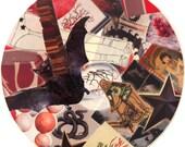 Untitled Original Collage (bat, snake and books)