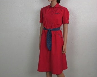 Red Crisp Cotton Vintage A line Shift Dress with Blue Plaid Trim