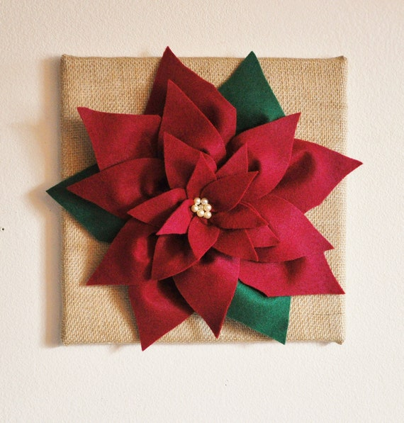 Rustic Burlap Wall Decor : Items similar to christmas decor cranberry poinsettias on