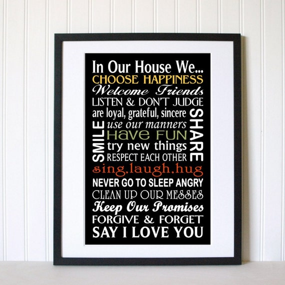In Our House Family Rules Wall Art Print 11x17 By
