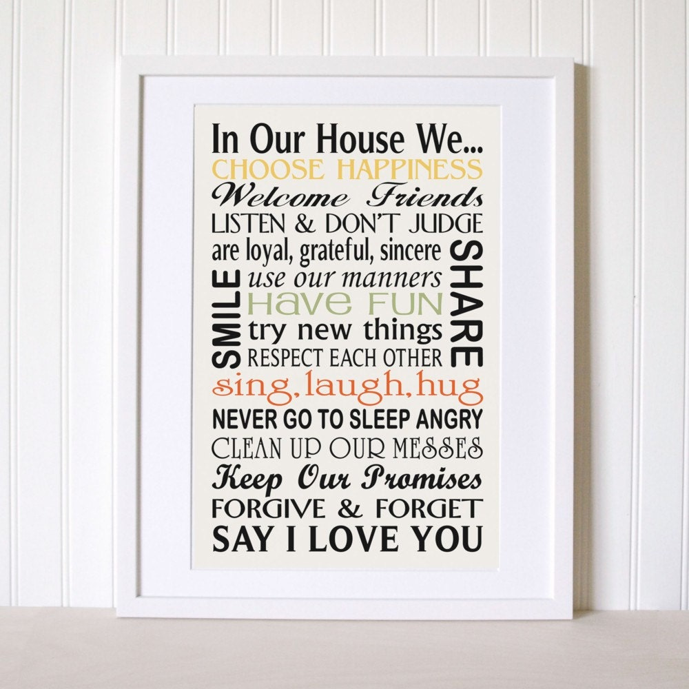 Family Rules Sign Typography In Our House We By SignsofVintage