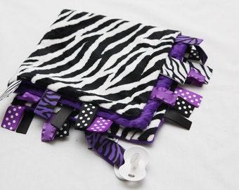 Baby Tag Ribbon Blanket - Minky Binky Blankie - Purple Zebra