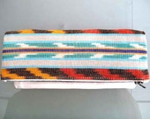 Tribal Ikat and Pearl White Leather Clutch , makeup tote , foldover clutch