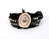 Jewelry on sale, Wrap Bracelet, Sari silk tripple wrap bracelet, Black and Silver