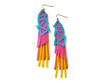 Geometric Earrings, Hot Pink Leather Earrings, Neon Jewelry, Triangle Color Block in Turquoise Yellow and Orange