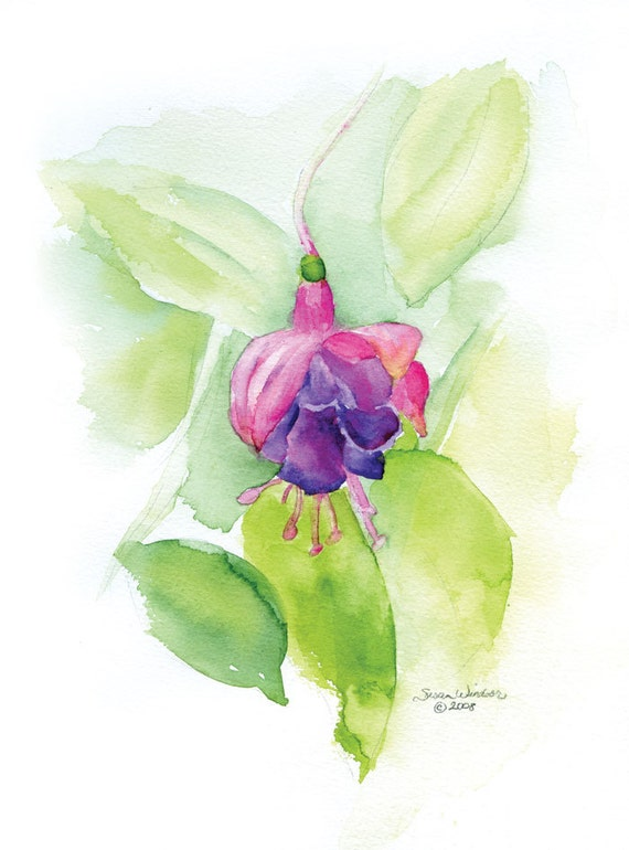 Fuschia Flower Watercolor Painting Giclee Fine Art 8 x 10 / 8.5 x 11 Print