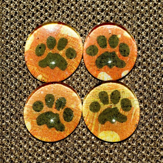 Animal Paw Print Magnets - Set of 4 Glass Gem Mini Magnets - Cat Dog Paw Print (P2)