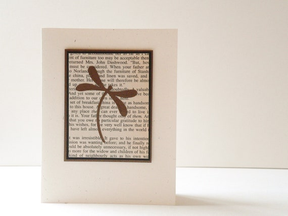Jane Austen and Dragonfly - Handmade Card - book text, copper, ivory, black, Nouveau Nancy, newnanc, choose your greeting