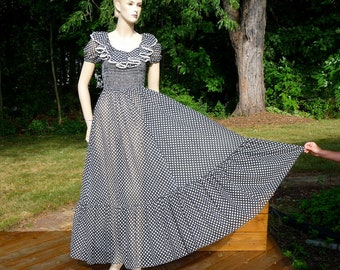 Vintage Sheer Prairie Maxi Dress, Black and White, Polkadots, small to medium