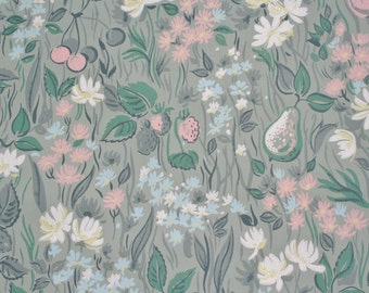 Vintage Floral Wallpaper Green with Fruit 1960s