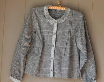 French Madeleine Jacket Cropped Jacket  Pin Tucks Victorian Style  Black and Cream Plaid