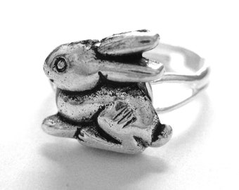 Silver White Rabbit Ring - Spring Jewelry - Bunny Rabbit Jewelry Easter Jewelry Alice in Wonderland Ring - Adjustable Animal Ring Gift Her