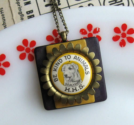 Be Kind to Animals - Upcycled Dog Pinback Button and Buckle Necklace