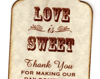 100 Wedding Favor Gift Tags, Place Card Escort Tags, Thank You Tags, Shower Tags, Love Is Sweet, Honey Jam Candy Label Tags