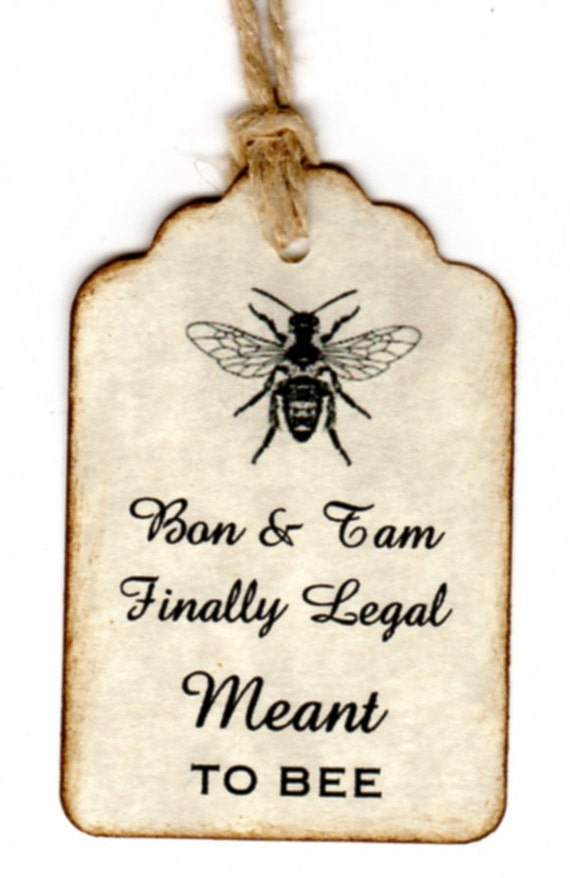 Custom Listing For Tam - 40 Personalized Vintage Wedding Favor Gift Tags / Meant To BEE Tags / Escort Tags Place Cards / Honey Jar Labels