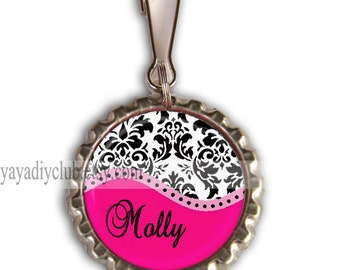 Girls Party Favors - Personalized Zipper Pulls, Backpack Zipper Pull Charm - Hot pink Black and White Damask with personalized name