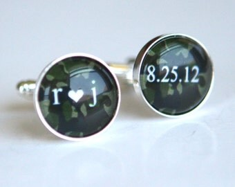 Camouflage Wedding Cufflinks Custom wedding date Initials or any custom quotes word in Camouflage background, unique groom gift