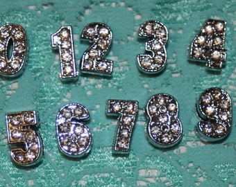 Your Choice Rhinestone Number 1 2 3 4 5 6 7 8 9 0 8mm for bracelets or Hair Ties