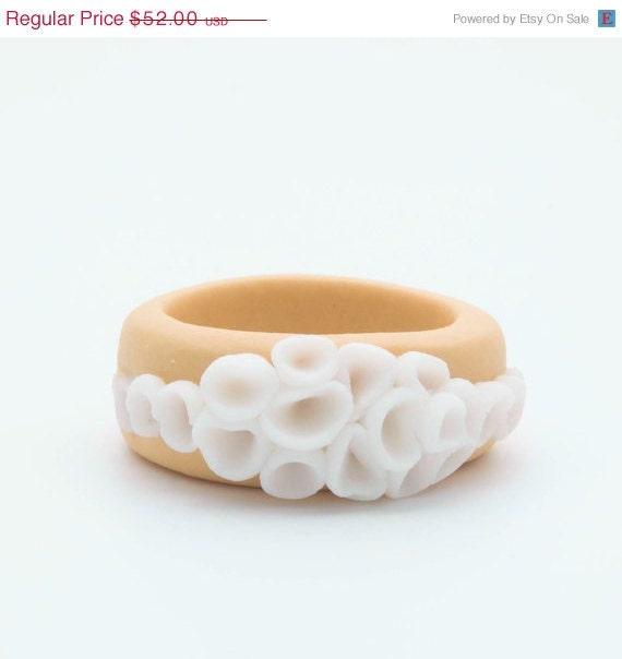 RESERVED Custom Ring - La Rambla - Porcelain Ring - Mustard Yellow and White