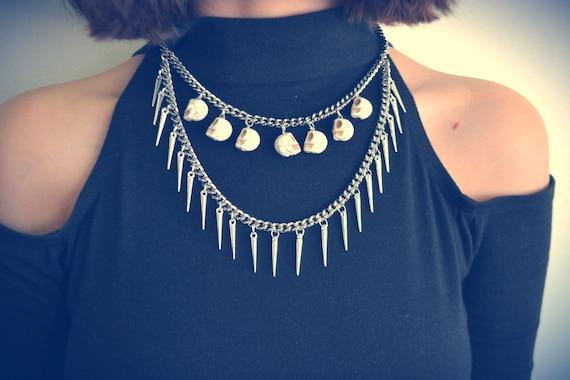 White Howlite Skull & Spike Choker Necklace