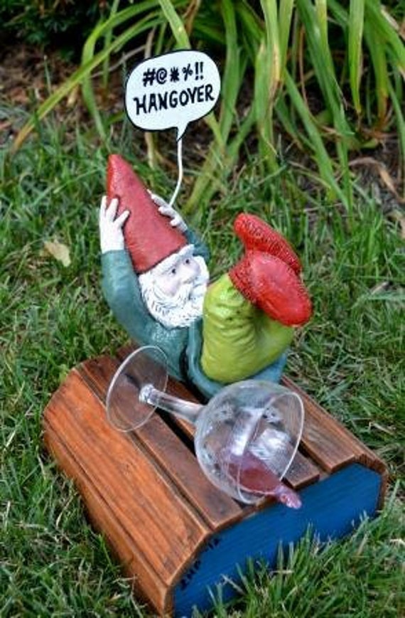 Gnome Garden: GNOMES GONE BAD Hungover Garden Gnome Funny Upcycled Statue