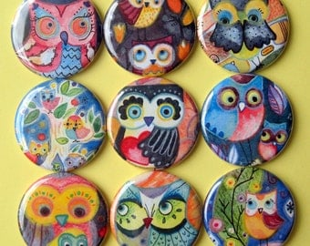 Owl Magnets - Lauren Alexander- Set of Nine 1.25 Inch Button Magnets Packaged in a Custom Box
