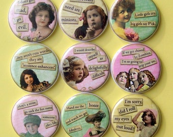 Magnets - Funny Girls - Set of Nine 1.25 Inch Button Magnets Packaged in a Custom Box