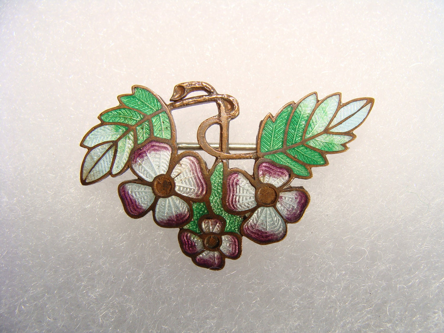 Now 30% off vintage enamel on copper taille basse flower brooch cca 1910-1920