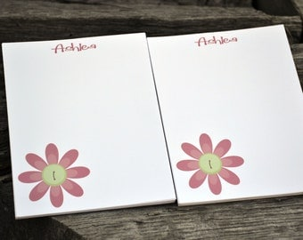 Personalized Notepads /Personalized Notebook / Personalized Button Flower Note Pads/ Set of Notepads /  Set of 2 Button Flower