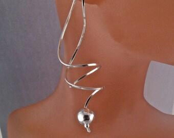 sterling SPIRAL EARRING. wire coil earring .silver dangle. corkscrew earring long. nickel free No.00E300