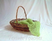 Lacy Green Baby Blanket Veil Photo Prop in Spring Buds colors