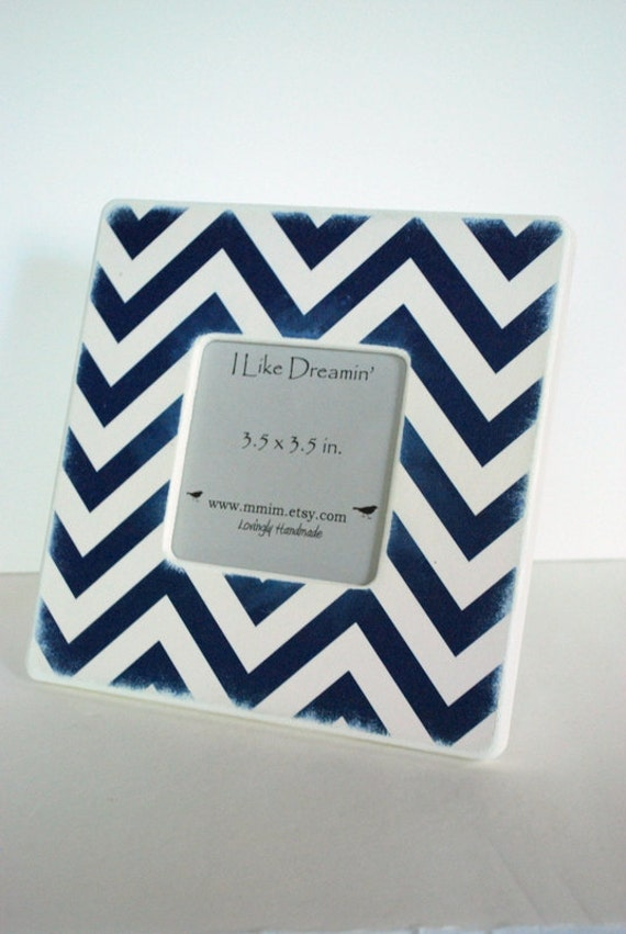 Navy Blue And Ivory Chevron Picture Frame