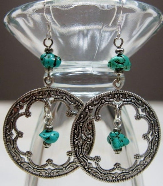 SILVER FILIGREE CIRCLE Chandelier Earrings - TuRQUoiSe GyPSy -