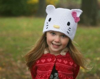 Hello Kitty Hat - Crocheted White Hat - Size 12-24M
