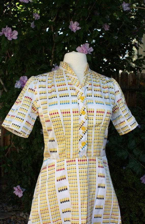 1970's Yellow Dress Geometric Abstract VIntage Retro Handmade Short sleeve Fitted Hipster Day Office Teacher Mod Casual