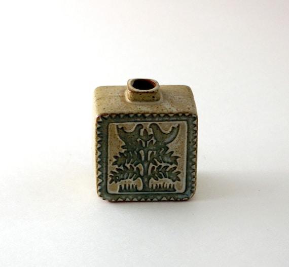 Tiny Japanese Stoneware Vase with Tree Pattern