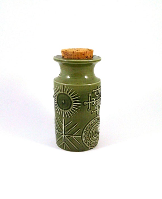 Portmeirion Totem Storage Jar or Canister in Green - Designed by Susan Williams-Ellis