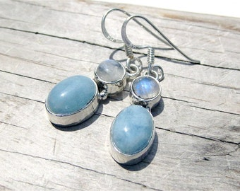 Aquamarine and Moonstone Sterling Silver Earrings