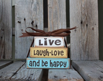 Live Laugh Love Be Happy  Wood Block Set Mini Stacker Family Inspirational home gift love custom wood blocks primitive country gift