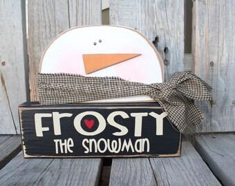 Christmas Decor wood block set . . SnOwMaN. . . Frosty the Snowman winter snowflake gift home seasonal decor