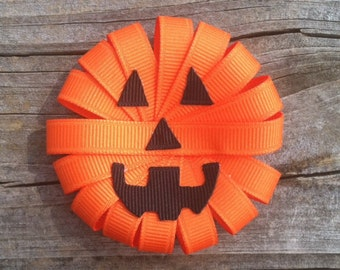 Jack-O-Lantern Ribbon Sculpture Hair Clip, Pumpkin Hair Clip, Halloween Hair Bow, Orange and Black Hair Bow, Toddler Bows, Free Ship Promo