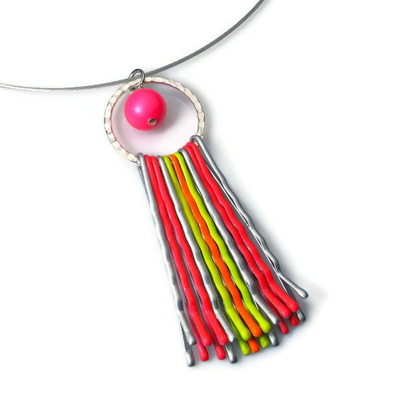 Neon Jewelry, Colorful Necklace Pendant, Repurposed, Upcycled