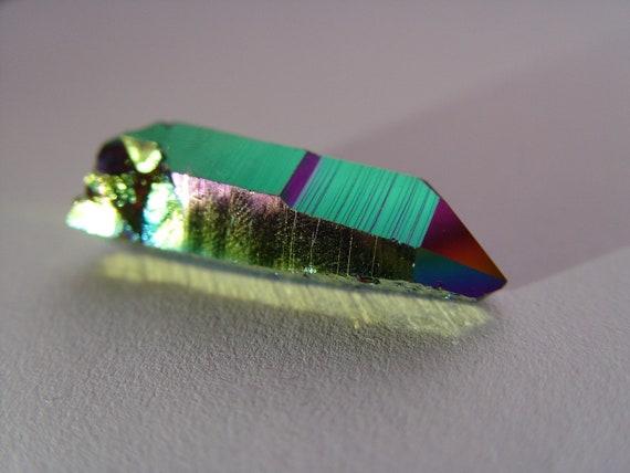Titanium Rainbow Flame Aura Quartz Crystal Point