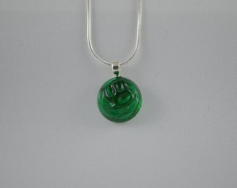 """Sterling silver with green glass vintage button, pendant necklace, 18"""""""