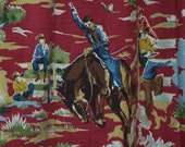 Cowboy Buck-A-Roo Shower Curtain in Vibrant Colors, Extra Long with a Brown Top Border Fun Fun FUN