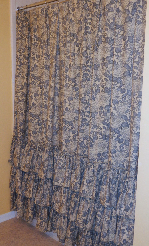 Shabby chic curtains blue - 40 Percent Off Sale Shabby Chic Shower By Peeledbananastogo