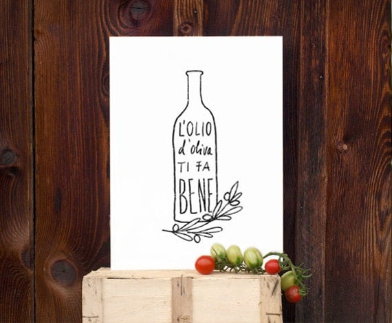 L'OLIO Art for Kitchen, Italian Olive Oil Print / high quality fine art print